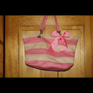 Handbags - Pink & Cream color tote.  With pink bow